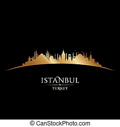 Istanbul Turkey city skyline silhouette black background