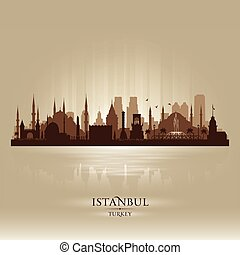 Istanbul Turkey city skyline vector silhouette