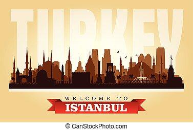 Istanbul Turkey city skyline vector silhouette