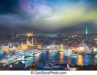Istanbul, Turkey. Gorgeous view of city skyline at dusk with...