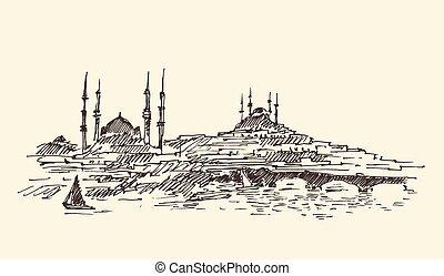 Istanbul, Turkey, Harbor, Vintage Engraved Sketch - Istanbul...