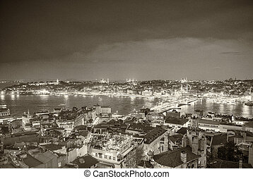 Istanbul, Turkey. Night aerial panorama from Galata Tower