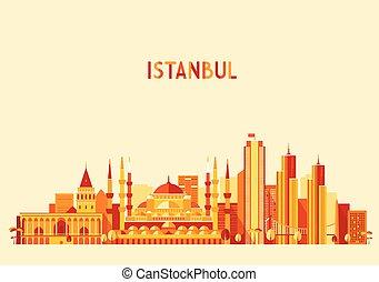 Istanbul Turkey skyline Flat design trendy vector - Istanbul...