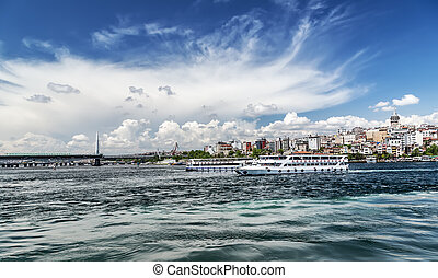 Istanbul Turkey Tourist boat sails on the Golden Horn