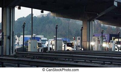 Traffic passing toll booth - Istanbul, Turkey, Traffic...