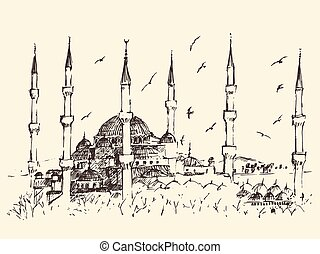Istanbul, Turkey, Vintage Engraved Sketch Vector - Istanbul...
