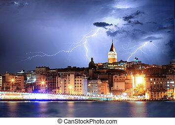 Istanbul, Turkey with storm