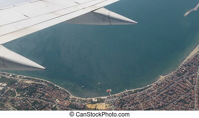 Istanbul under the wing of aircraft.