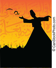 istanbul - vector cityscape of istanbul with a sufi dervish