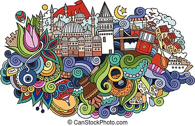 Istanbul vector hand drawn illustration - Istanbul city...
