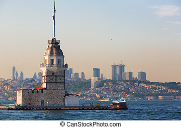 Istanbul, view of the Maiden's Tower (Turkish: K?z Kulesi),...
