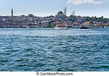 Istanbul view through Golden Horn