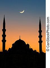 istanbul, yeni, mosquée, coucher soleil
