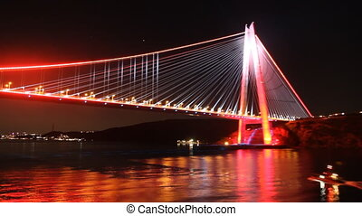 Istanbul's Bridge - View from the Bosphorus at night...