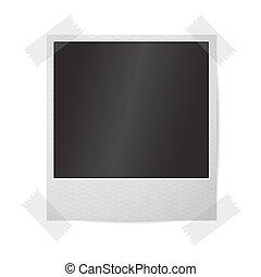 istante, cornice, foto, isolato, wall., realistico, vettore, vuoto, bianco, sticked