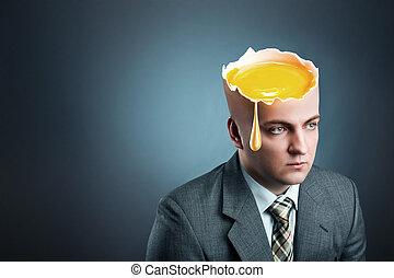 istead, homem negócios, cabeça, ovo, amarela