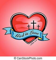 isten, van, szeret, noha, szív, kereszt, és, banner., vektor, design.