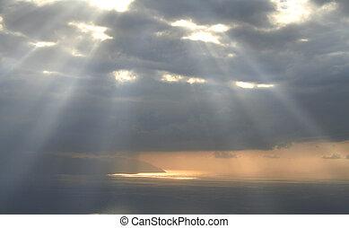 isteni, fény, ég