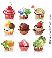 isteni finom, vektor, cupcakes, finom, ábra