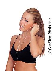 istening, słuchawki, muzyka, kobieta, stosowność, ładny