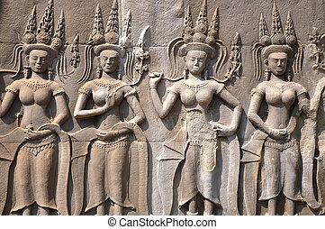 istennő, angkor, művészet, kambodzsa, történelmi, kő