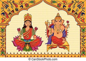 istennő, ganesha, diwali, háttér, lakshmi, lord, boldog
