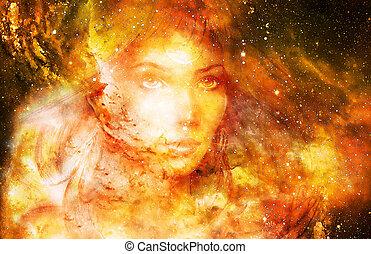 istennő, nő, alatt, kozmikus, space., kozmikus, hely,...