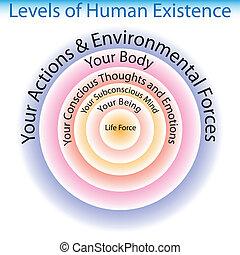 istnienie, poziomy, wykres, ludzki
