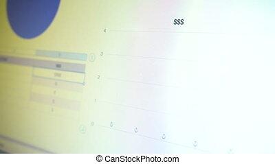 istogramma, con, dati, su, schermo