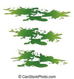 istota, drop., kałuża, odizolowany, spill., chemiczny, plash, wektor, zielony, ilustracja, tło, brudzić, toksyczny, biały