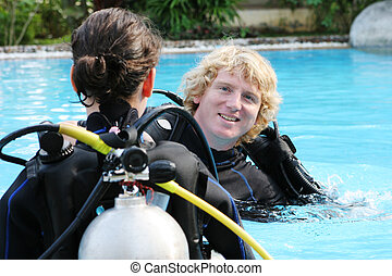 istruttore, immersione subaquea
