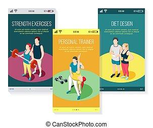 istruttore personale, isometrico, mobile, schermi
