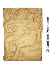 Image of an ancient 3rd century rock carving known as Isurumuniya Lovers at Isurumuniya Temple, Anuradhapura, Sri Lanka. The carving may represent Saliya, the son of the great King Dutugamunu and the low-caste maiden whom he loved.