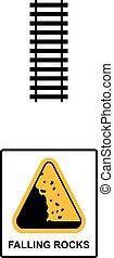 isymbol, rochers, vecteur, tomber, signe, avertissement