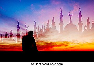 iszlám, ember, imádkozás, muzulmán, könyörgés, alatt, félhomály, idő