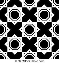 iszlám, motívum, fehér, seamless, fekete, geometriai