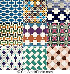 iszlám, motívum, marokkói, seamless