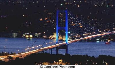 isztambul, bosporus, bridzs, alatt, éjszaka