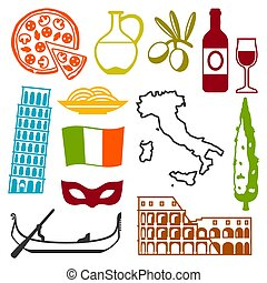 itália, ícones, set., símbolos, objetos, italiano