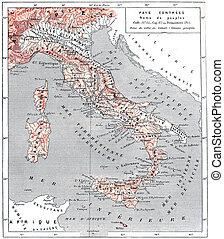 itália, antiga, engraving., vindima, mapa