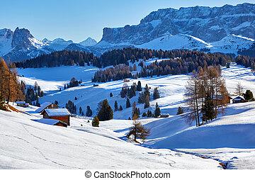 itália, inverno, di, sobre, dolomites, alpe, siusi, amanhecer