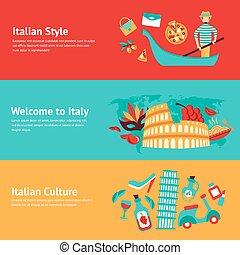 itália, jogo, bandeira