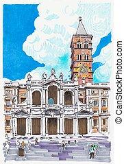 itália, marcador, roma, cityscape, quadro, original