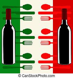 itália, menu, sobre, bandeira, modelo, italiano