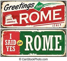 itália, metal, idéia, roma, retro, fundo, antigas, poste cartão