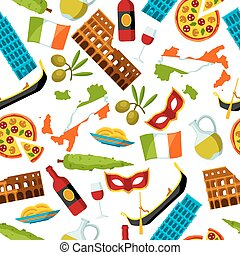 itália, pattern., seamless, símbolos, objetos, italiano