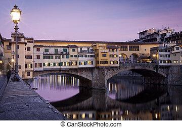 itália, ponte vecchio, pôr do sol, florença, vista