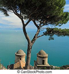 itália, ravello, vila, unesco, (, rufolo, amalfi, local, amalfitana, ), mar, herança, mundo, costiera, costa, vista