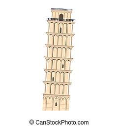 itália, símbolo, isolado, ilustração, pisa, vetorial, monumento, torre