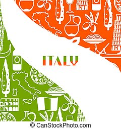 itália, símbolos, objetos, fundo, design., italiano
